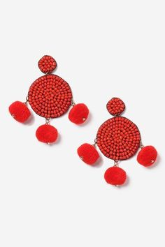 Red pom pom and bead earrings topshop