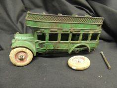 """Arcade Double Decker Bus 8"""" Cast Iron Antique Toy Car Parts Metal 316 Sticker"""