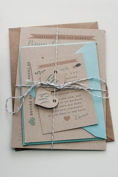 Wedding Invitation / / Rustic & Modern Kraft Paper Invitation / / Pink, Peach and Teal Calligraphy on Etsy, $2.00