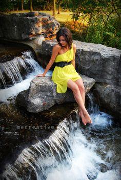 Waterfall photoshoot. Neon Dress