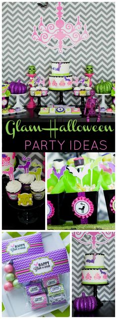 You have to see this glam Halloween party in purple, lime and pink! See more party ideas at CatchMyParty.com!