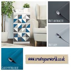 Create your own design on drawers using your favourite colours - easy to create yourself, use the handy backing paper as a guide! Ikea Furniture Hacks, Furniture Makeover, Dc Fix, Create Your Own, Create Yourself, Sticky Back Plastic, Ikea Malm, Static Cling, Kitchen Doors