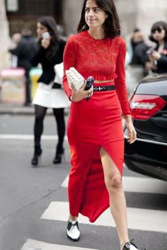 Leandra Medine works a brilliant shade of red but keeps the footwear a little more casual. #pfw #ss14 #streetstyle @Man Repeller