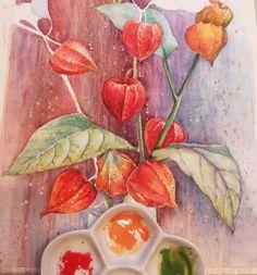 Физалисы, процесс... Когда начинала рисовать, задумала совсем по-другому) И фона не планировала, но видно такое сейчас у меня настроение)) И солнца нет, одни только тучи( фотки получаются слегка поджареные... #акварель #ярисую #рисунок #живопись #букет #цветы #краски #красиво #процесс #сейчас_рисую #арт #люблюрисовать #краски #яхудожникятаквижу #painting #watercolor #watercolour #watercolorpaint #draw #art #artwork #instaflower #creative #осень #autumn #inspiration #colors #творчество…