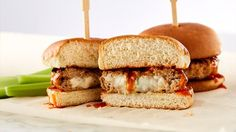 Make these sliders for your next sports gathering. The Gorgonzola cheese is stuffed inside the patty and flavored with Buffalo sauce for a new twist on a classic flavor.