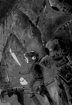 """That's Tiny Ghost and Ramses, the stars of Christopher Reineman's """"Chainsaw Richard. Watch Cartoons, Web Series, Chainsaw, Sci Fi, Feelings, Stars, Cool Stuff, Illustration, Inspiration"""