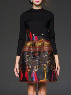 Paneled Zipper Mini Dress features Asian Equine Motif