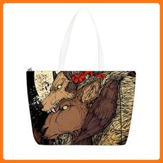 JIUDUIDODO Zippered Cotton Canvas Custom God Elk Tote Bag Casual Bags Shopping Bags Shoulder HandBags (2 Sides) (*Partner Link)