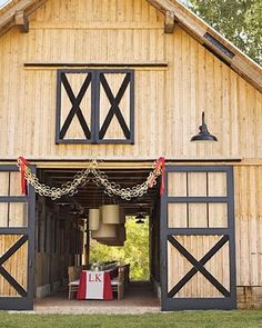 table at barn doors