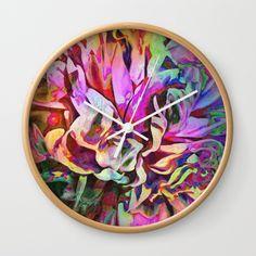 Tropical Painted Peony Wall Clock