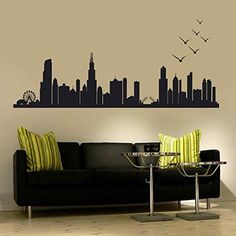BATTOO Chicago Skyline Wall Decal Art Vinyl Stick n peel Decal up to 100 Living Room Office Decor City Decals Many Colors and Sizes 30h x 86wwBlack * Learn more by visiting the image link.