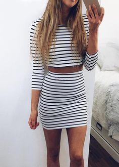 Wheretoget - Two-piece black & white stripes bodycon dress