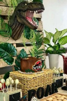 Check out this awesome Jurassic Dinosaur birthday party! The cake is awesome!  See more party ideas and share yours at CatchMyParty.com #catchmyparty #partyideas #dinosaurparty #dinosaurs  #dinosaurcake #jurassicparty #boybirthdayparty #dinosaurcake