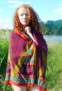 Large Embroidered Scarf Embroidered Beach Wrap by MiriTextiles, $30.00