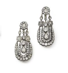 A pair of 19th century double swag pear and cushion-shaped diamond pendent earrings, approx. 7.20cts total.