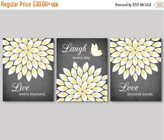 Live Laugh Love Quote Flowers Flower Burst White Yellow And Grey Wall Decor Bedroom Bathroom Living Room Kitchen Art