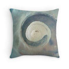 Spiral Seashell Pillow Cover - fine art photograph, ocean beach decor, blue, green, cream, macro abstract home decor by LegendsofDarkness on Etsy