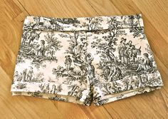 Trash To Couture: DIY Printed Victorian Shorts - If I ever see fabric like this I will make these