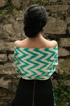 Central-Asian-inspired ikat chevrons in beautiful turquoise, CocoonTribalchase