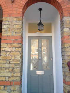 Farrow and Ball Pigeon front door Victorian House. By Laura Noctor