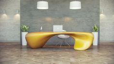design Evfyra Extravagant Office Desk Showcasing a Fluid Shape: Evfyra Table by NUVIST