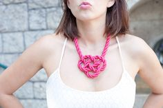 The Kiss -wearing pink Silk Cord Rope Necklace by APreciouZ Rope Necklace, Crochet Necklace, My One And Only, Pink Silk, Lifestyle Blog, Nice Dresses, Cord, Jewelery, Kiss