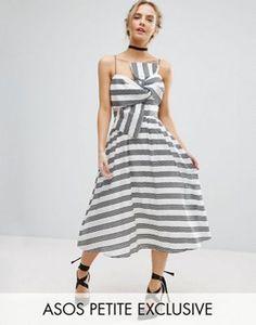 Платье миди в полоску с бантом ASOS PETITE