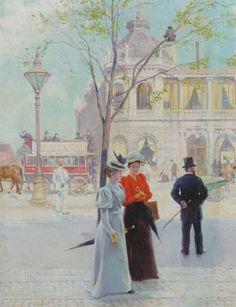 Paul Fischer 1893 Forårsdag ved National Scala med 2 unge piger i forgrunden. Kunstnerens hustru Martha og datteren Ely. 75x56cm.