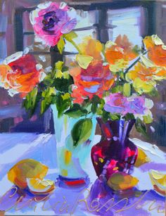 ROOSTAFEL Art Print of Original Oil Painting, roses with blue and purple vases