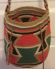 Shop for on Etsy, the place to express your creativity through the buying and selling of handmade and vintage goods. Tapestry Bag, Tapestry Crochet, Cement Crafts, Tribal Patterns, Crochet Purses, Trendy Accessories, Knitted Bags, Straw Bag, Purses And Bags