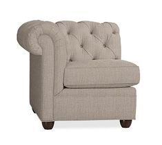 Chesterfield Upholstered Sectional Left Arm Chair, Polyester Wrapped Cushions, Sunbrella Performance Sahara Weave Mushroom