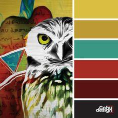 Palette couleurs vivantes inspiration - Jaune + ocre + vert tendre + rouge vif + rouge vin Bright colors palette inspiration - Yellow + ocher + soft green + bright red + wine red (oiseau - bird) Pandora, Bright, Movie Posters, Inspiration, Owls, Ink, Wine, Colors, Drawing Drawing