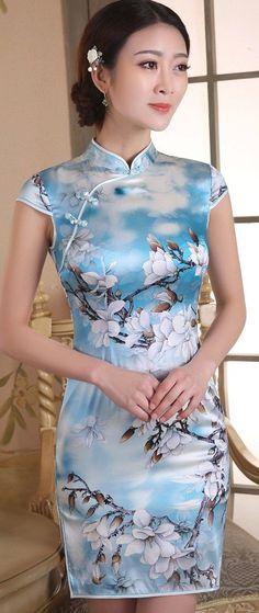 Retro Blue Real Silk Floral Print Mini Bodycon Qipao Dress - iDreamMart.com