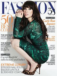 Carly Rae Jepsen finally looks her age on the October 2012 cover of Fashion.