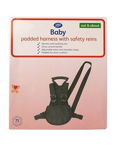 #Boots Baby Padded Harness and Reins 10128564 #44 Advantage card points. Boots Baby Padded harness with safety reins is the ideal way to keep your little one safe when out and about. FREE Delivery on orders over 45 GBP. (Barcode EAN=5045092493618)