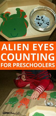 DIY Alien Eyes Counting Activity for Preschoolers Counting Activities for Preschoolers: Teach your preschooler counting with one to one correspondence with this alien eyes counting activity! What's more fun that creating an alien with 10 eyes! Counting Activities For Preschoolers, Preschool Craft Activities, Nanny Activities, Preschool Lessons, Preschool Activities, Counting Games, Educational Activities, Space Theme Preschool, Space Activities For Kids