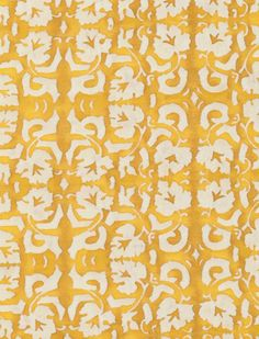 5471 SHIRAZ in yellow & white Fortuny Printed Cottons Rembrandt Paintings, Textile Prints, Textiles, Soft Furnishings, Damask, Printed Cotton, Art Pieces, Yellow, Pattern