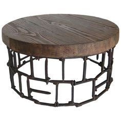 Round Rail Road Spike Table | From a unique collection of antique and modern side tables at http://www.1stdibs.com/furniture/tables/side-tables/