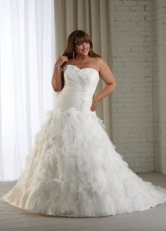 Chic Organza Ballgown Style Sweetheart Appliques Ruffles And Beaded Chapel Trian Plus Size Wedding Dress