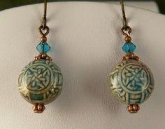 Celtic Knot Raku beaded earrings with Swarovski by celtictreasures