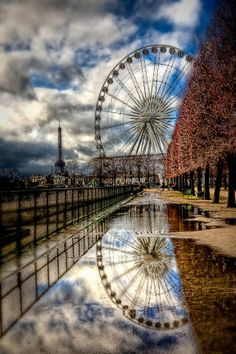 Ferris Wheel and Eiffel Tower Paris, by Kay Gaensler. Being that my great great great grandpa invented the Ferris wheel and I'm in love with Paris, this is a super cool pic to me! Paris France, Oh Paris, Paris Love, Paris City, Places Around The World, Oh The Places You'll Go, Places To Travel, Places To Visit, Around The Worlds