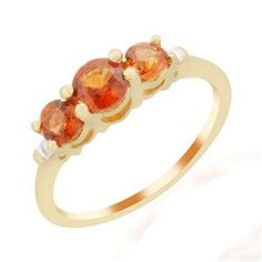 <strong>17</strong> - Hessonite Garnet & Diamond 9K Gold Ring ATGW 1.38cts
