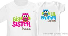 Owl Big Sister Shirt & Owl Little Brother Shirt - 2 Personalized Sibling Shirts. $32.50, via Etsy.