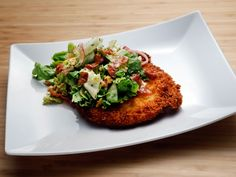 Chicken Milanese with Escarole Salad recipe from Anne Burrell via Food Network