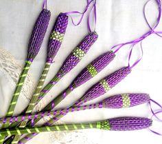 Organic French Lavender Wand Woven Sachet Long Purple by Engelfelt