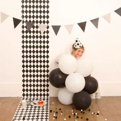 QUICK PARTY IDEA   Mime Kids Party    So yes, this garland is darling, but I'm really in mad love with the styling and this adorable little mini-mime! Beautiful party inspiration, don't you think?