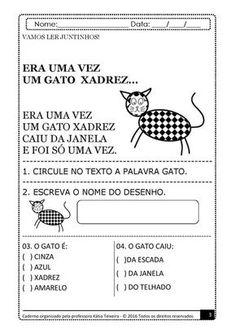 Atividades Era uma vez um Gato Xadrez. Todos os exercícios foram criados para educação infantil com desenhos e figuras ilustrativas para colorir, jogo da memoria, questões de fixação de gatos nas cores azul, vermelho, amarelo, preto, branco entre outras como conta a história do gato xadrez. Após a leitura do texto ERA UMA VEZ UM …