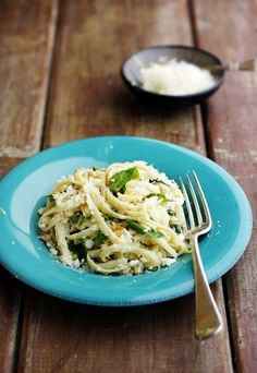 Quick meal: Summer linguine with lemon, feta, parmesan and fresh basil.  Add grated zucchini?