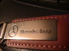 GENUINE MERCEDES-BENZ DEALER LEATHER / CHROME KEY ring #mercedes