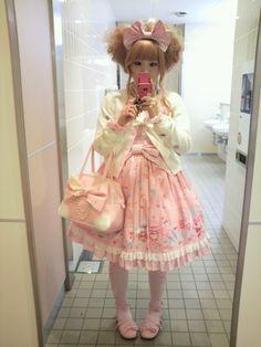 cotton candy pink lolita girl